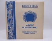 Vintage Staffordshire  England Liberty Blue Historic Colonial Scenes Blue and White 4PC Place Setting in Original Box