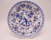 1860s Hand Painted Antique F C Greiner Rauenstein Meissen Germany Hand Blue and White Ribbed Soup Bowl - BL2
