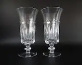 Pair of Vintage Gorham De Medici Crystal Iced Tea Glasses with Cut Dot and Cut Vertical Line - Marked Gorham on Bottom