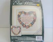 Elsa Williams Needlepoint Kit an Unopened Love Letters or Heart Wreath Flowers a Nancy A Bombard Design can be a Picture or Pillow