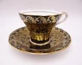1930s Vintage Aynsley English Bone China Teacup English Cobalt Blue Teacup and Saucer Set Delightful Tea Cup C869
