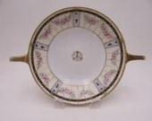 1891 to 1910 Lovely Antique Hand Painted Nippon Colorful Pink Rose Cobalt Blue Handled Serving Bowl Vegetable Bowl