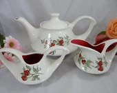 Unique American Art Pottery Porcelain Strawberry Tea Set with Teapot, Sugar and Creamer - Anyone for Tea - Made in USA