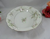 "Thomas Haviland New York Made in USA Oval Vegetable Bowl ""Rosalinde"" Pink Spray Pattern - 2 available"