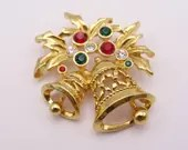 Vintage Gold Tone Christmas Bells Brooch Pin with Shiny Red and Green Rhinestone Accents - Wonderful Holiday Brooch - Christmas Brooch