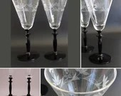 Two Clear Crystal Cut Glass Wine Glasses with Black Stems an Elegant Wine Goblets for Toasting Set or for your Table