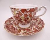 1950s Vintage Tuscan English Bone China Autumn Fall Chintz Teacup and Saucer Tea Cup D2949