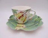 """Vintage Spode English Bone China Green Teacup and Saucer Set  """"Floral Haven"""" Pattern  English Tea Cup - 2 Available."""