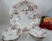 """1900s Reinhold Schlegelmilch R.S. Prussia  """"Surreal Dogwood"""" 59A Master Berry Set -  Large Fruit Bowl"""