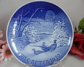 1970 Bing and Grondahl B G Christmas Collector Plate Pheasants in the Snow