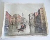 Vintage Venice Italy Canal Gondola Oil on Canvas Antonio DeVity (1901-1993) Painting Signed - Venice Canal with Gondolier