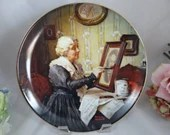 """1988 Edwin Knowles Norman Rockwell """"Grandma's Love"""" Limited Edition Collector Plate Golden Moments Series"""