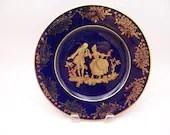 Beautiful Veritable Bleu de Four Limoges France Cobalt Blue and Gold Fragonard Courting Couple Plate