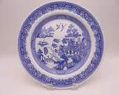 "Vintage Spode Blue Room Collection Blue and White Dinner Plate ""Willow"" 5 Available"