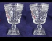 Set of 2 Vintage Indiana Glass Park Lane Colony Water or Wine Glass Stemware for your Elegant Table or Bar - Mid Century Glassware