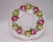 1880s Vintage Bavarian ZSC Zeh Scherzer & Co Colorful Roses Serving Plate Stunning