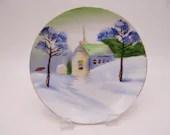 1930s Vintage Hand Painted Winter Church Plate Charming Folk Art