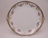 Antique 1910s Hand Painted Nippon Handled Pink Rose Gold Moriage Bow Serving or Cake Plate