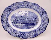 "Vintage Staffordshire Liberty Blue and White Historic Colonial Scenes ""Washington Crossing the Delaware"" 14"" Oval Serving Platter"
