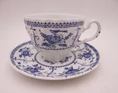 """Vintage Johnson Bros  Blue and White Teacup and Saucer Set """"Indies""""  - 8 Available"""