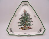 Large Vintage Spode Christmas Tree Made in England Triangular Serving Tray