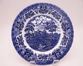 """1950 Vintage British Anchor England Bone China """"Olde Country Castles"""" Blue and White Salad Plate"""