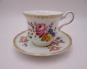 Vintage Royal Grafton English Bone China Spring Floral Bouquet Teacup and Saucer Set Charming English Tea Cup Set 2117