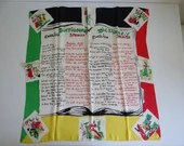 "Vintage English Spanish Dictionary Phrase Scarf in Red Yellow Black and White Colors with Depictions of Spanish life on border - 32"" by 33"""