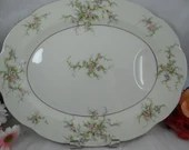 "Thomas Haviland New York Made in USA Round 14"" Oval Serving Platter  ""Rosalinde"" Pattern Pink Rose or Pink Spray"