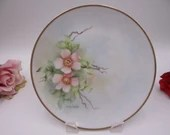 Vintage Hand Painted Artist Signed Pink Poppy Plate Delightful