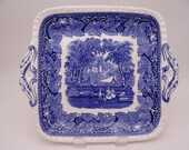Vintage English Mason's Ironstone Vista Blue Square Handled Cake Plate or Serving Tray - Colorful and Bright