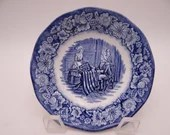 "Vintage Liberty Blue and White Sauce or Dessert Bowl Historic Colonial Scenes  ""Betsy Ross"" - 12 available"