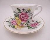 Vintage Crownford English Bone China Yellow and Pink Rose Teacup and Saucer Set Nice English Tea Cup