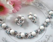 Vintage Sarah Coventry Alaskan Summer Bracelet and Earring Jewelry Set a Lovely Mid Century Modern Demi-Parure Set