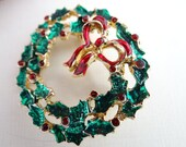Vintage Red and Green Holly Wreath with Red Bow Brooch Pin - Christmas Wreath Pin Brooch