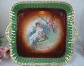 CICO Made in Germany Woman and Cherub in Paridise Porcelain Serving Tray - Cabinet Display Piece