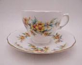 Mid Century Royal Vale English Bone China English Yellow Daisy Teacup and Saucer set English Tea Cup