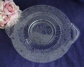 Vintage Bird and Vine Etched Glass Handled Plate Platter Large Serving Plate - Etched Glass Plate - Clear Glass Serving Platter