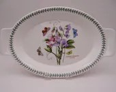 """Vintage 1970s Portmeirion Botanic Garden Large 18"""" Augratin Oval Baking Dish """"Sweet Pea""""  Made in England - 2 Available"""