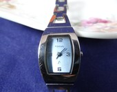 Working Fossil White Face Ladies Stainless Steel watch Nice Modern design