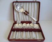 Vintage Art Deco Tableware Ltd Dublin Silverplate Berry Shell Spoon Set in Box  6 Berry Spoons with 1 Large Serving Spoon Rd 872589