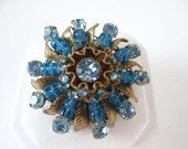 Vintage Signed Miriam Haskell Shades of Blue Rhinestone and Blue Bead Brooch with Gold Tone Accents