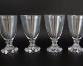 """Set of 4 Anchor Hocking Boopie Water Goblets - 5.5"""" Boopie Goblets - Vintage Anchor Hocking Glass - Elegant Drinkware Barware"""