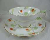 1930s Hand Painted Copelands Grosvenor English Bone China Teacup Autumn Leaves English Teacup and Saucer English Tea cup