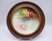Vintage Hand Painted Artist Signed Thomas Sevres Bavaria Marechal Niel Beautiful Framed Rose Plate - Lovely