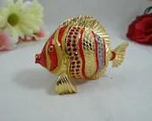 Vintage Brass and Enamel Fish Ring Trinket Box - Charming