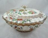 1850-67 Antique Copeland English Bone China Hand Painted Covered Vegetable Bowl - Spectacular