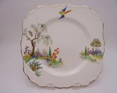 """c1912 Vintage J&G Meakin """"Persian Garden"""" Square Luncheon or Salad Plate"""