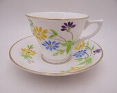 Vintage Hand Painted Rosina English Bone China Yellow and Blue Flower Teacup and Saucer Set English Tea Cup