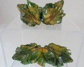 Antique Bakelite Green Carved Leaf Cuff Bracelet and Brooch Set with Gold Detail - 2 Lovely Collectible Pieces